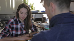 Training consultant hipster girl in the office. financial adviser, charts Stock Footage