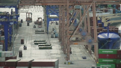 Top View Of A Cargo Port Stock Footage
