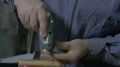 Carpenter howling screws with electric tools in workshop, close up, handcraft. Stock Footage