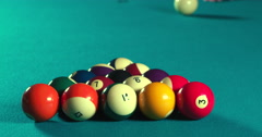 Pool Breakshot with sound in Full 4K Stock Footage