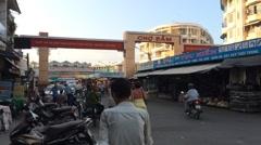 Cho Dam city market in Hna Trang city in Vietnam Stock Footage