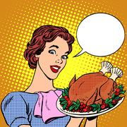 Woman with a Christmas Turkey thanksgiving - stock illustration
