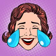 Retro Emoji tears of joy woman face Stock Illustration