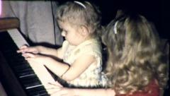 Baby Genius Little Girl Plays Piano Child Prodigy Vintage Film Home Movie 8724 Stock Footage