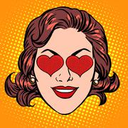 Retro Emoji love heart woman face - stock illustration