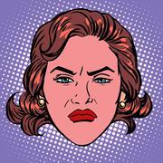 Retro Emoji wicked contempt woman face - stock illustration