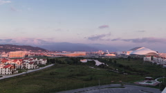 Olympic village and park before sunset timelapse Stock Footage