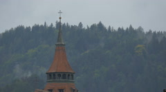 Close up view of the Black Church tower, Brasov Stock Footage