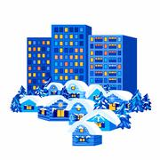 Winter City and Village Houses Stock Illustration
