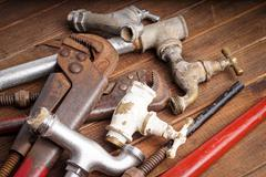 Working tools, plumbing, pipes and faucets Stock Photos