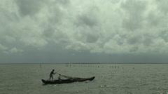 Fisherman at Sea, India Stock Footage