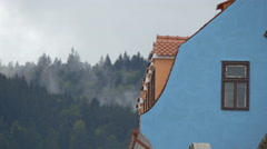 Old building with blue facade near Tampa mountain, Brasov Stock Footage