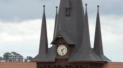 Beautiful clock tower at Olimpia tennis club, Brasov Stock Footage