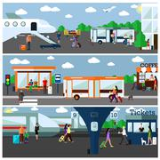 Mode of Transport concept vector illustration. Airport, bus and railway stations Stock Illustration