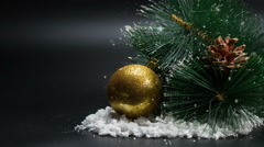 Christmas ball and Happy New Year Background snowfall Stock Footage