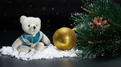 Christmas bear ball and Happy New Year Background snowfall Stock Footage