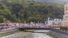 Settlement of municipal type  Krasnaya Polyana and the river Mzymta timelapse Stock Footage
