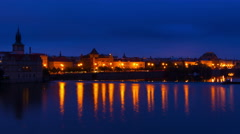 Morning on the Embankment of the Vltava River. Time Lapse 4K - stock footage