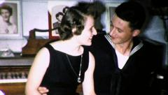 US Sailor On Leave Girlfriend in Love COUPLE 1960s Vintage Film Home Movie 8727 Stock Footage