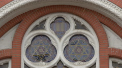Beautiful mozaic windows at the Reformed Synagogue in Brasov Stock Footage