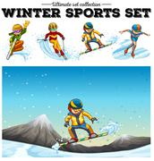 People playing winter sports - stock illustration