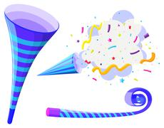 Party horn and pop up cone - stock illustration