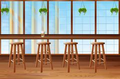 Inside of coffee shop with glass window - stock illustration