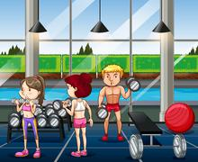 People working out in the gym Stock Illustration