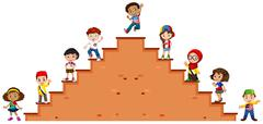 Children standing on the stairs - stock illustration