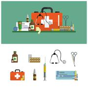 Health care medical flat banners. First aid icons set and design elements Stock Illustration