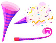 Party horn and musical straw Stock Illustration