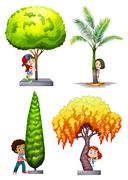 Children standing under different tree - stock illustration