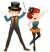 Magician and his assistant in costume - stock illustration