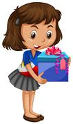 Little girl carrying box of present - stock illustration