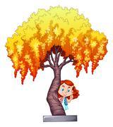 Little girl under the willow tree - stock illustration