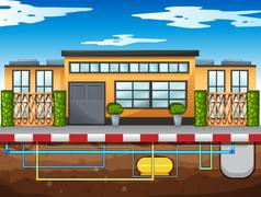 Water pipe running under the house - stock illustration