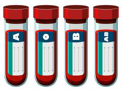 Different blood types in test tube Stock Illustration