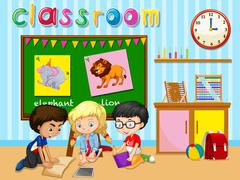 Children working in group in classroom - stock illustration