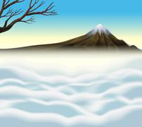 Nature scene with volcano and mist - stock illustration