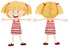 Little girl with front and back view Stock Illustration