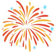 Close up firework on white - stock illustration
