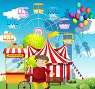 Man selling popcorn at the funpark - stock illustration