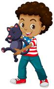 African American boy and his pet cat - stock illustration