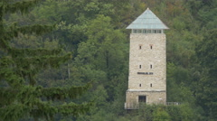 Beautuful view of the Black Tower and the forest, Brasov Stock Footage