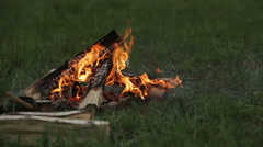 Bonfire on green grass - stock footage