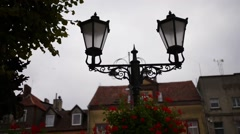 Lantern near Post-evangelical church in Sztum Stock Footage