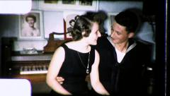 US Sailor On Leave Girlfriend in Love COUPLE 1940s Vintage Film Home Movie 8728 Stock Footage