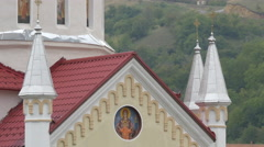 Orthodox iconography on the facade of Church of Saint Paraskeva, Brasov Stock Footage
