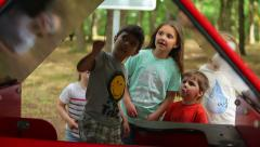 Children saw the spider, interest, fear, curiosity - stock footage