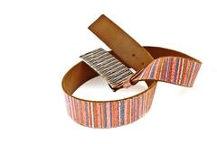 multicoloured leather belt with big steel buckle - stock photo
